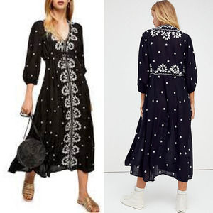 Free People Embroidered Dress Black SM